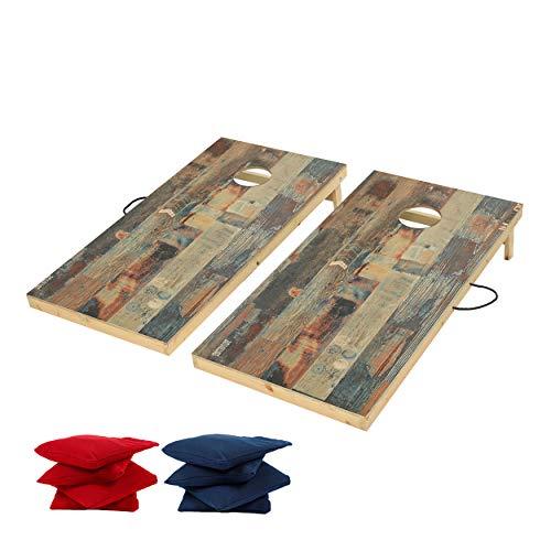 TIANNBU Cornhole Game Set Cornhole Board Regulation 4 x 2ft, Wood Corn Hole Set Bean Bag Toss Game Portable for Indoor Outdoor Tailgate Camping