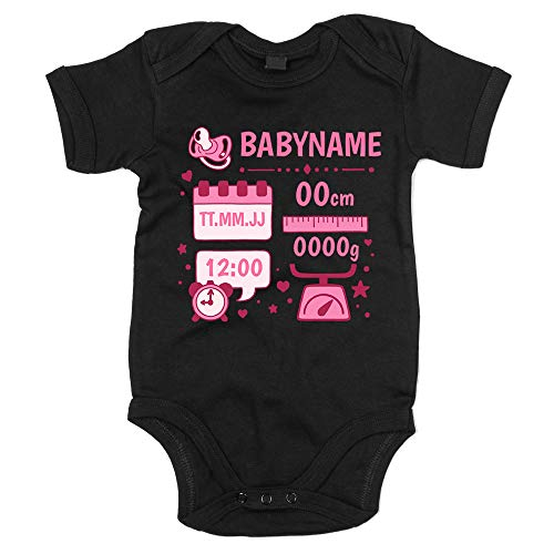 shirtdepartment - Baby Body - Personalisiertes Geschenk zur Geburt - Mädchen (50-62, schwarz-rosa)