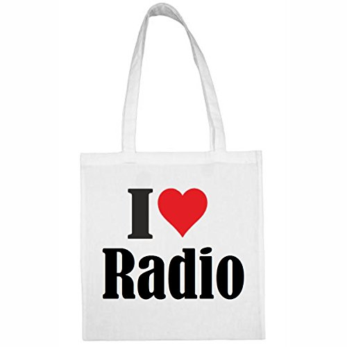 Tasche I Love Radio Größe 38x42 Farbe Weiss Druck Schwarz