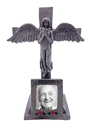 BC INTER Solar Lighted Cross - Angel Cemetery Decoration Grave Headstone Memorial - Automatically Lights Up at Night