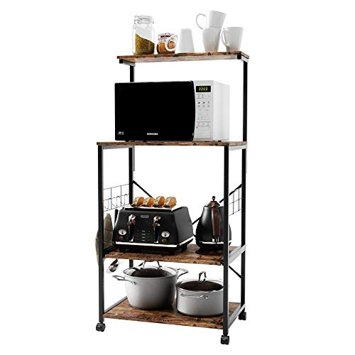 BESTIER Kitchen Baker's Rack Utility Storage Shelf Microwave Stand Cart on Wheels with Side Hooks, Kitchen Organizer Rack 4 Tier Shelves Adjustable Feet P2 Wood (Rustic Brown)