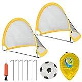 FOCCTS Juguetes de Fútbol - 2pcs Porterías de Fútbol Plegables con Pelota Fútbol 2 en 1 para Juegos de Fútbol y Entrenamiento para Niños (75 * 60 * 62cm)
