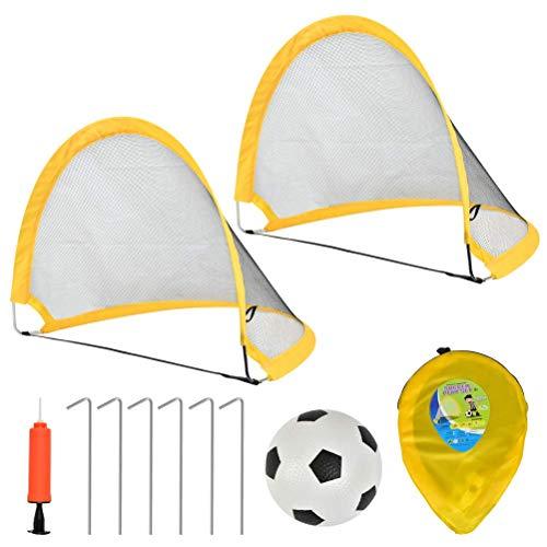 FOCCTS Kinder Fußballtor Set, 2 tragbaren Sofort-Pop-up-Fußballtor-Netzen, Ball, Pump & Pegs Komplettes Fußball-Übungsset für Kinder im Freien (75 x 60 x 62 cm)