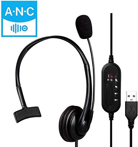 USB-Headset mit Mikrofon, USB-Stereo-Computer-Kopfhörer mit Mikrofon für Laptop, PC, kabelgebundenes Headset mit Lautstärkeregler für Call-Center/Büro/Konferenzanrufe/Online-Kurs-Chat etc (Black)