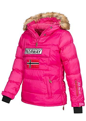 Geographical Norway BELANCOLIE Lady - Parka de Mujer cálida - Abrigo Capucha de Piel sintética - Chaqueta Invierno Acolchada - Chaqueta Corta Forro cálido - Regalo de Mujer (Rosa S) Talla 1
