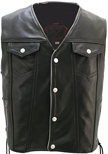 Men's Black Leather Motorcycle Vest with Reflective Piping & Gun Pockets - Hillside USA (Chest:60' Length: Regular)