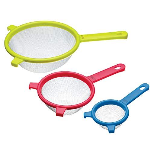 Kitchen Craft Colourworks Set di 3 Colini in Rete, 8/12.5/18 cm, Acciaio Inossidabile, Multicolore