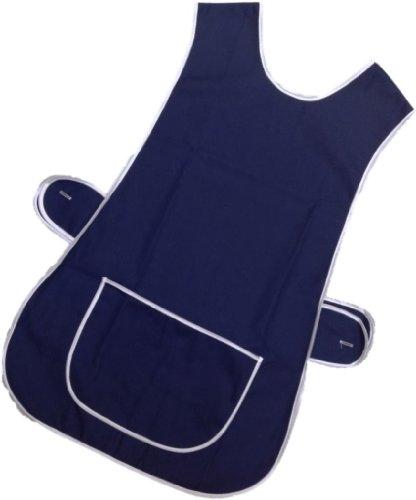 Damen Tabard Schürze mit Tasche, Übergröße, große Küchenchef, Größe XOS / XL / EU 48-50, Marineblau