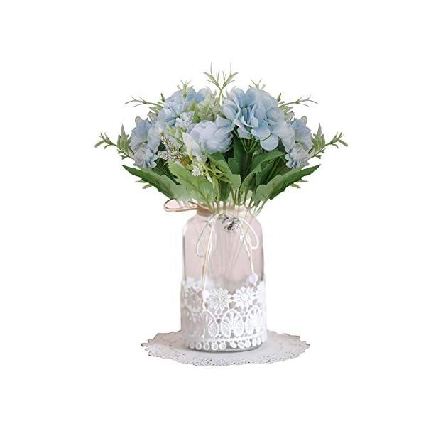 2 Paquetes Flores Artificiales de la Zona Superior, peonía Falsa, Rosa, Hortensia de Seda, decoración de Ramo, claveles…