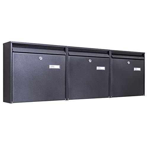 Burg-Wächter Briefkastenanlage 3 Fach | 108,6x32,2x10cm groß verzinkter Stahl schwarz DIN A4 | Briefkasten Set 3 Briefkästen mit Namensschild, 2 Schlüssel, Montagematerial