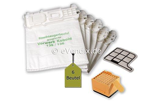 eVendix Filterset kompatibel mit Vorwerk Kobold VK 135, 136: 6 Staubsaugerbeutel ähnlich FP 135, FP 136, Staubbeutel + 1 Hygiene-Mikrofilter HEPA + 1 Motor-Schutzfilter
