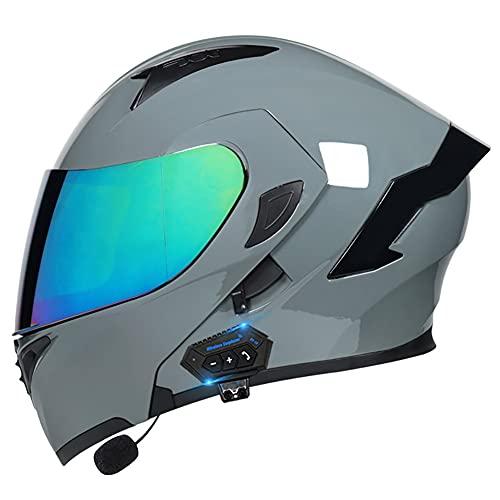 Bluetooth Casco de Moto Modular Integrado con Doble Anti Niebla Visera Cascos de Motocicleta ECE Homologado Prueba de Viento para Adultos Hombres Mujeres 55~60cm
