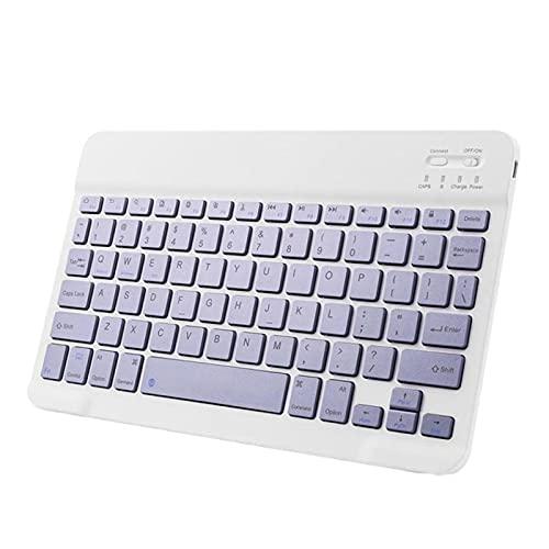 Teclado Inalámbrico Portátil De Alta Luz del Teclado del Ratón De La Luz De Alta Compatible De 10 Pulgadas para Tableta Teléfono Móvil (Color : Purple)