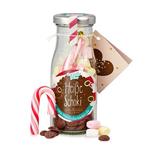 DIY heisse Schoki zum Selbermachen, süße Trinkschokolade im Glas mit 45 gr Schokodrops, Mini-Marshmallows und einer Zuckerstange, warmer Kakao
