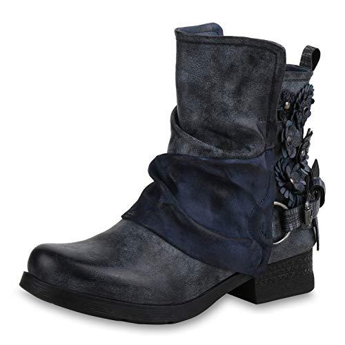 SCARPE VITA Damen Stiefeletten Biker Boots Metallic Leicht Gefütterte Schuhe 169156 Dunkelblau Blumen Leicht Gefüttert 37