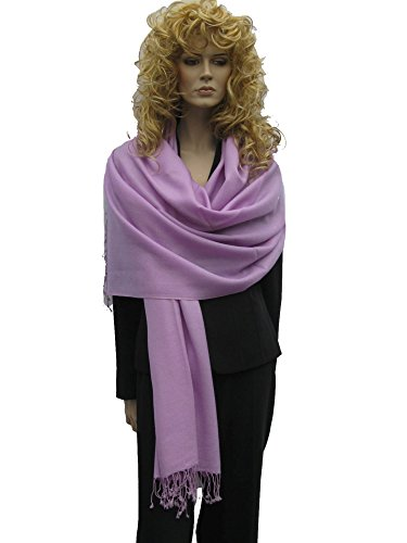 Scarf/Shawl/Wrap/Stole/Pashmina Shawl in solid color from Cashmere Pashmina Group (Regular Size) - Lilac