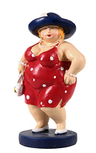 Schick-Design Frau im roten Sommerkleid mit Hut und Tasche stehend 15 cm Mädchen Rubensfrau mollige Dame Dicke Frau Badezimmer Figur Strand Meer Urlaub