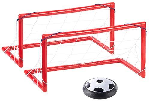 Playtastic Schwebender Fußball: Luftkissen-Indoor-Fußball, LEDs, Möbelschutz, 2 Tore, Batteriebetrieb (Fußball-Scheibe)