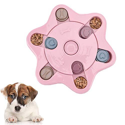 YGHH Juguete Alimentación Lenta para Perros, Dispensador Golosinas para Mascotas, Antideslizante Estrella de Seis Puntas PP Alimentador Lento Rompecabezas para Perro, Cachorro Gato (Rosa)