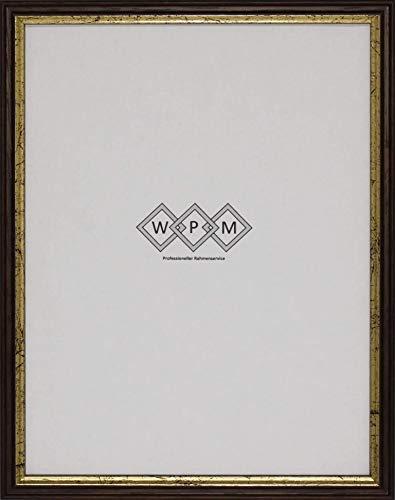 Bilderrahmen aus Holz, Schwarz/Gold, DIN A4, Braun/Gold Din A4 /WPM - Wechselrahmen Profil 6-55 (Braun/Gold DIN A4, Museumsglas)