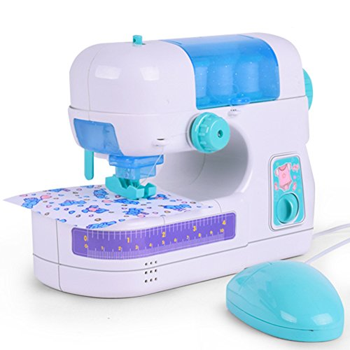 CHoppyWAVE Kids Toys for 1 2 3 4 5 6, Portable Simulation Sewing Machine Toy Kids Children Electric DIY Clothes Maker - Blue + White for Kids Toddlers Boys Girls