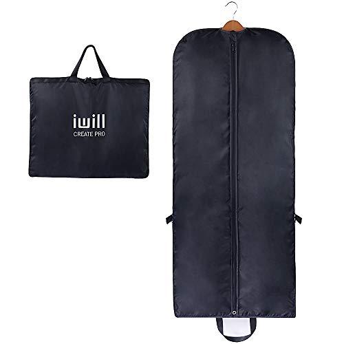 AMX 140 (L) x 60 cm (B), kleidersäcke mit bügel für Mantel, Hochzeitskleid, Anzüge, Reisetasche, Tragetasche, Kleidersack Set - Optimal für unterwegs Dank robustem Tragegriff, Schwarz