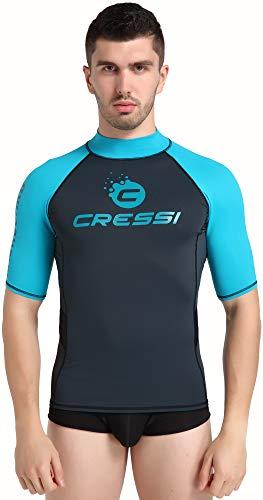 Cressi Unisex– Erwachsene Hydro Men'S Premium S.Sleeves Rash Guard Kurze Ärmel aus elastischem Stoff Mann UV-Schutz (UPF) 50+, Schwarz/Hellblau, XL