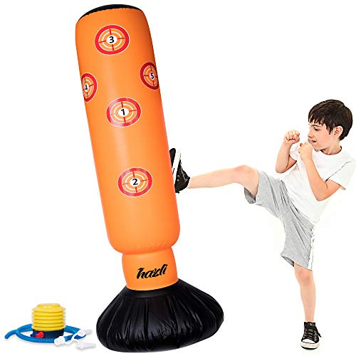 Halloween Inflatable Kids Punching Bag with Stand – Free Standing Boxing Bag for Karate, Taekwondo with Bounce Back– 63'' Punching Bag with Stand – Freestanding Sport Bag with Air Pump