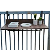 Outdoor Balcony Railing Hanging Folding Table, Computer Table Home Bar Counter, Creative Lifting Folding Desk, Coffee Patio Garden Dining Room Furniture Table, 1.5cm Imitation Wooden