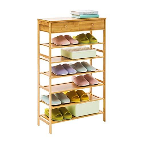 M-YN Zapatero 6 Niveles de bambú apilable Extensible con cajones Stand Standing Storage Organizer for Zapatos de 20 Pares (Size : 70CM)