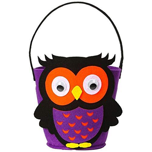 NET TOYS Niedliche Halloween-Tasche Kleine Eule für Süßigkeiten - Violett-Schwarz - Schönes Kinder-Accessoire Trick or Treat Beutel - Genau richtig für Gruselparty & Straßenkarneval