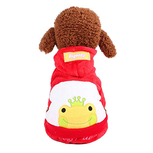Siler Ropa para Mascotas, Estilo de Dibujos Animados Rana Vestido de Mascota Abrigo de Mascota para Perros y Gatos SL-014 (Color : Red, Tamaño : Metro)