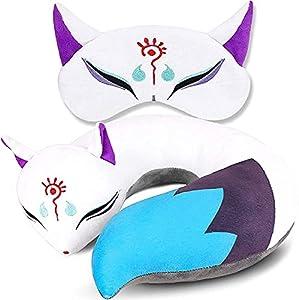 WWWL Almohada de Cuello en Forma de U, Zorro de Peluche con Cuello en Forma de Almohada de Viaje, Lindo Anime japonés Almohada de Cuerpo de Peluche de Peluche de Peluche, máscara de Ojos para Dormir