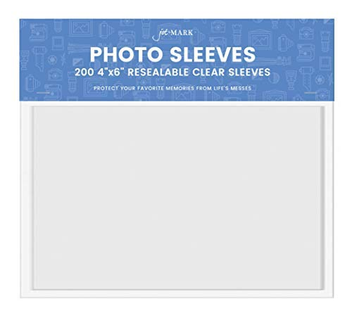 Jot & Mark 4x6 Photo Sleeves | Crystal Clear Cello Acrylic Sleeves w/Self Adhesive Resealable Flap - Protect Photographs, Tickets, Notes, and Other Small Keepsakes (200 Count)