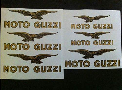 KIT 6 ADESIVI decalcomanie adesivi stickers TANK MOTO GUZZI CARDELLINO SERBATOIO ORO