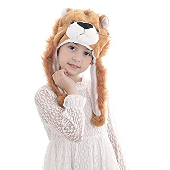 Calvertt Kids Animal Hat - Plush Kids Hats for Boys and Girls - Soft Hat with Ear Flap- Kid Animal Costume Hat - Comfortable and Cute Winter Hats  Lion
