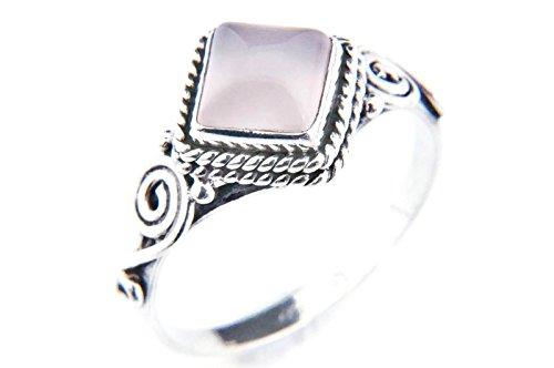 Ring Silber 925 Sterlingsilber Rosenquarz rosa Stein (Nr: MRI 26), Ringgröße:58