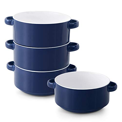 Porcelain Soup Bowls with Handles, Set of 4, 20 Ounce Ceramic Crocks for French Onion Soup, Cereal, Oatmeal or Chili, Stackable Bowls, Large Serving Crocks are Microwave and Oven Safe (Blue)