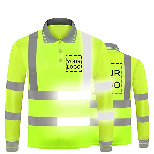 YOWESHOP Hi Vis T Shirt Reflective Safety Long Sleeve Polo Tee Customize Your Logo High Visibility Protective Workwear (XXX-Large, Neon Yellow - Style 8)