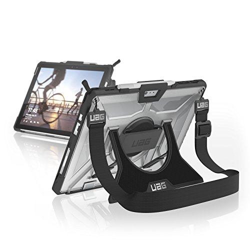Urban Armor Gear Plasma Hülle für Microsoft Surface Pro 7 / Pro 7+ / Pro 6 / 5 / 4 (Microsoft zertifiziert, Type-Cover kompatibel, Surface Pen Halterung, Standfunktion, Schultergurt) - transparent