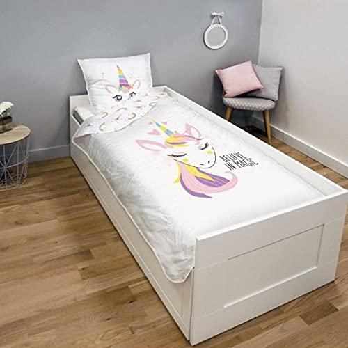 Pretty - Funda de edredón con diseño de unicornio, color blanco y rosa