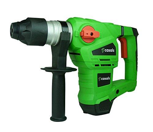 Casals VMP1500EM - Martillo combinado percutor (1.500 W, 880 rpm, 4.320 ipm, 5.5 J, incluye maletín, puntero, cincel, brocas SDS-Plus, adaptador SDS-Plus y portabrocas) color verde y negro