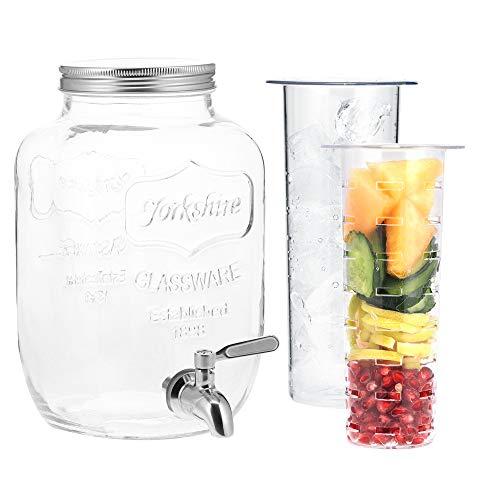 Navaris Dispensador de Bebidas con Grifo - Recipiente de Cristal de 4 L - Bidón de Vidrio con dosificador de Metal - Garrafa de Agua con 2X Filtro