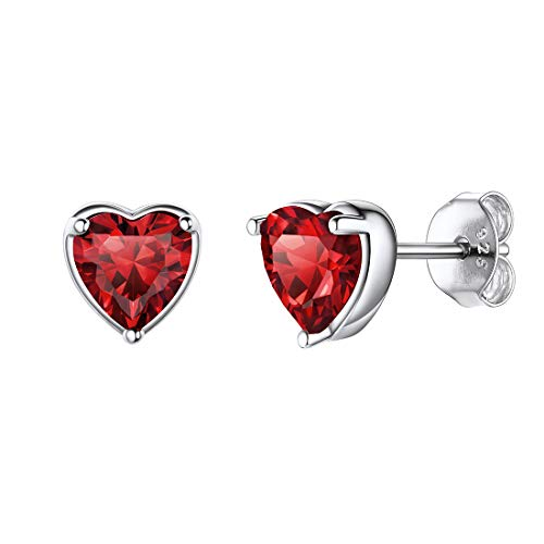 Corazón Romántico Plata Esterlina 925 Enero Diamantes de Nacer Pendiente Clavos Antialérgicos Joyería Moderna Elegante Granate Rojo