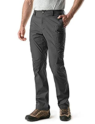 CQR Men's Hiking Pants, Water Repellent Outdoor Pants, Lightweight Stretch Cargo/Straight Work Pants, UPF 50+ Outdoor Apparel, Driflex Cargo(txp424) - Charcoal, 32W x 30L