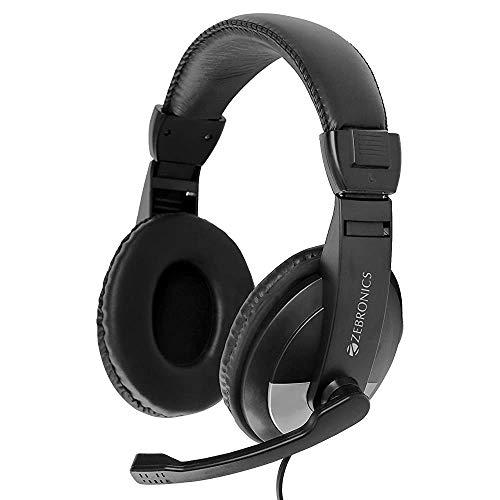 (Renewed) Zebronics Zeb-200HM Headphone with Mic, Dual 3.5mm Connectors, Adjustable Headband & Mic, for PC Computers/Laptop