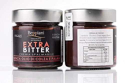 Crema Spalmabile al Cioccolato Artigianale Fondente EXTRA BITTER - Set 2 Barattoli da 250 gr, SENZA GLUTINE e VEGAN. Beppiani – Cioccolato Artigianale