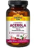 Acerola, vitamina C masticable, cereza, 500 mg, 90 Obleas - Vida en el campo