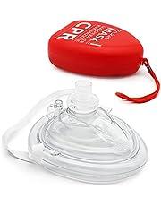AIESI® Máscara de reanimación profesional para respiración boca boca con válvula unidireccional y filtro # CPR Mask Resuscitator