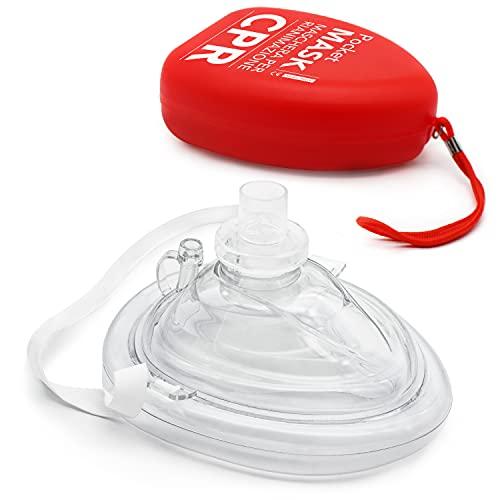 AIESI® Pocket Mask professionelle maske beatmungsmaske für beatmung mund zu mund mit einwegventil und filter # CPR Mask-Resuscitator